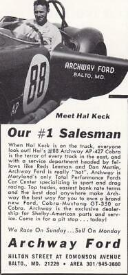 Rare Original 1965 Shelby Cobra Ad/Archway Ford, Baltimore / Hal Keck