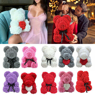 Rose Bear Foam Flower Lovely Teddy Christmas Valentine Birthday Gift 25cm