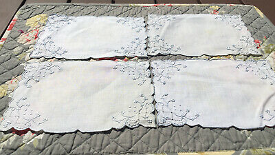 """Set of 4 Vintage Doilies Ivory/Blue Embroidered Scalloped 7"""" x 4.5"""""""