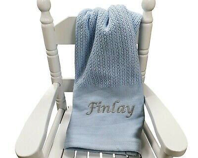 Personalised Blue Cellular Blanket Newborn Blanket Embroidered Baby Boy Gift