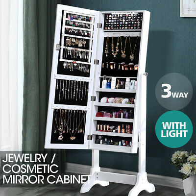 Mirror Jewellery Cabinet Storage Organiser Box Makeup Stand Tall LED Extra Large