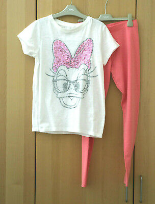 Next Girls White Minni Mouse Sequin Top & Pink Leggings Age 12 Years BNWT