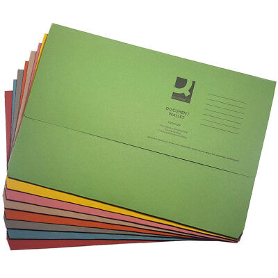 10 x Foolscap Heavyweight A4 Document Storage Wallets Paper Files Folders 285gsm