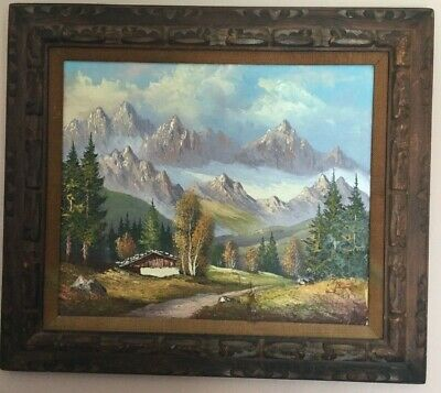 Beautiful Mid Century Original Swiss Alps Landscape Oil On Canvas Signed Framed