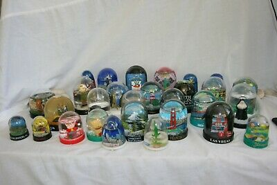Lot of 29 Miniature Snow Globes - Water Domes - Vintage - Various - Hong Kong
