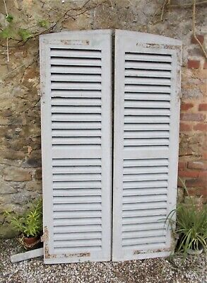 vintage French pair of  shutters, louvred, original paint, 162 cms high