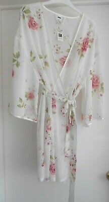 """George"" Rose Print Sheer Ivory Dressing Gown Robe Size 16 To 18 Bnwt!!!"