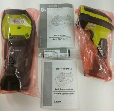 New Zebra Ds3678-Sr0F003Vzww Barcode Scanner & Stb3678-C100F3Ww Cradle Charger