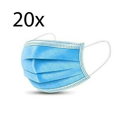 (Pack of 20) 3-Ply Face Mask, One Size Fits All, Disposable - Blue