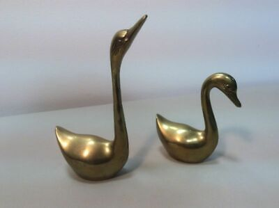 Pair Of Vintage Brass Swans Solid Brass Over 11 Ounces  A2