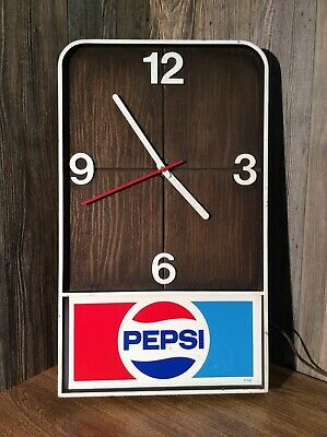 Vintage PEPSI COLA Wall Clock 20 X 12 Inches Working Condition D1