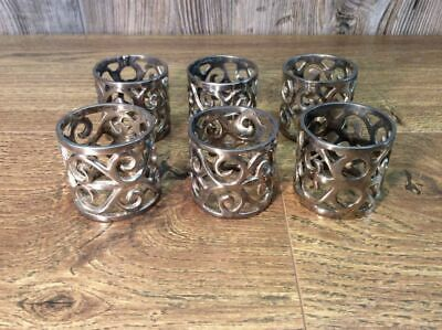 Vintage Napkin Rings Holders Silver Plate Set Of 6 Silverplate ?  A6