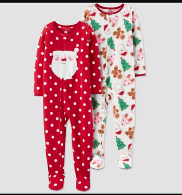 Toddler Girl Just One You Santa Is My Bestie 2 Pc LS Fleece Christmas Pajama Set