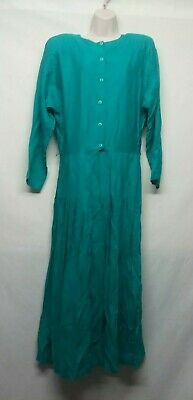 RABBIT DESIGNS Women's Solid Teal Green Long Sleeved Rayon Dress Size 12
