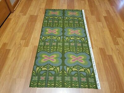 Awesome RARE Vintage Mid Century retro 70s slate floral on olive fabric! LOOK!