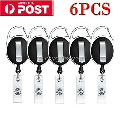 6PCS Retractable Reel Pull Key ID Card Badge Tag Clip Holder Carabiner Style New