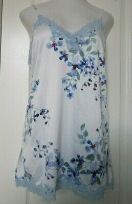 in Bloom by Jonquil Blue floral print Satin Chemise Size X-Large