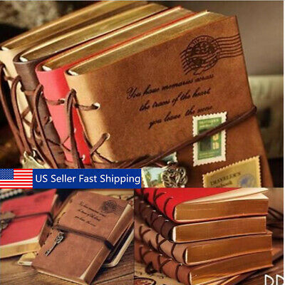 Classic Retro Vintage Leather Bound Blank Pages Notebook Note Journal Diary USA