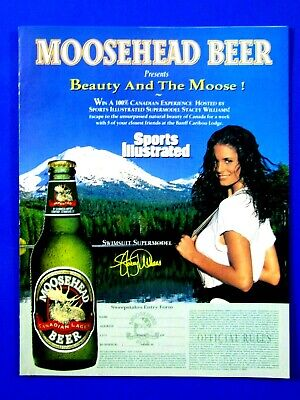 Stacey Williams-Beauty & The Moose 1996 Moosehead Original Print Ad 8.5 x 11""
