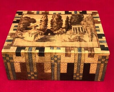 Vintage Art Deco Hand Made Wood Box OOAK Geometric Design