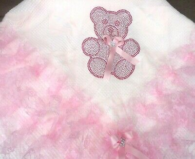 Gorgeous Baby Girl Princess Shawl With Diamante Carriage Pattern//Detachable Bow