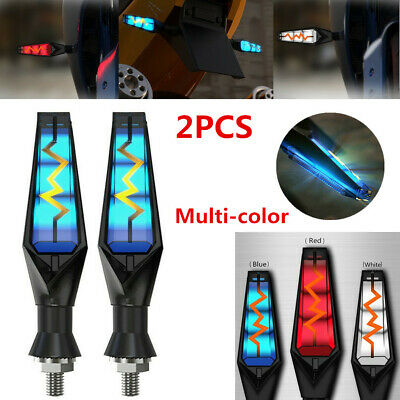 2x Motorcycle LED Amber M10//10mm Turn Signal Indicators Light Flowing Water Lamp
