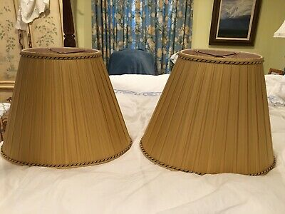 Pair custom silk lampshades braided trim EUC