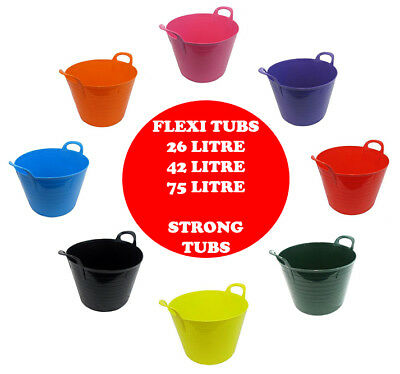 Whitefurze Flexi Colour Tubs Builder Bucket Trug Storage Container With Handle