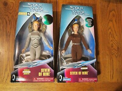 """Two Playmates 1998 Star Trek: Voyager Seven of Nine 9"""" figures, both mint in box"""