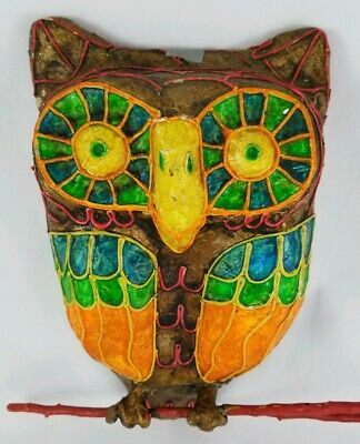 Vintage Paper Mache Owl Wall Hanging Groovy Mexico Folk Art Signed Mid-Century