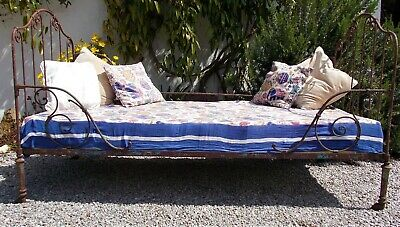 Antique iron bed, french day-bed , wrought iron single bed, folding . garden bed