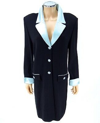 ST JOHN EVENING Coat Jacket SIZE 14 Black Blue Satin Crystals Santana Knits