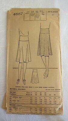 """Antique 1925 PICTORIAL REVIEW Sewing Pattern Women's Circular Skirt #4887-  34"""""""