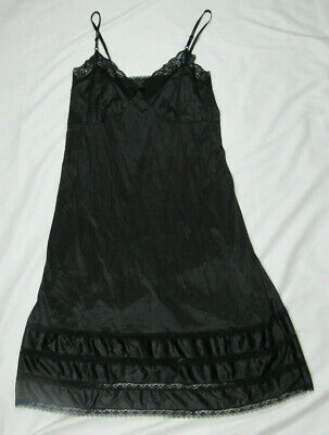 Black Long Satin Nylon Nightgown by Adonna Size 44 Lace Negligee VG Full Length