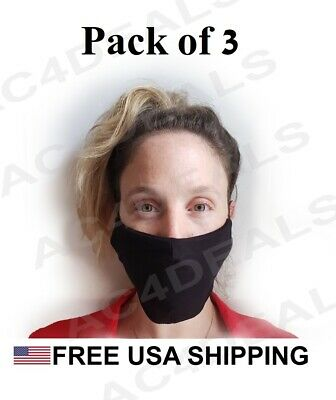 3 Pack - Reusable Washable Face Mask with 3 Cotton Layers Adult - FAST US SHIP