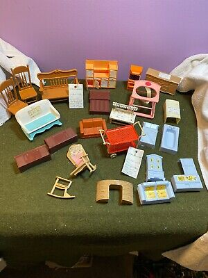 Mixed Lot of Vintage Dollhouse Furniture Living Rm Bathroom Kitchen Bedroom ECT