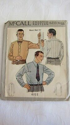 Antique 1930's~McCall Printed Sewing Pattern # 6255~Men's Shirt Size 16~UNUSED