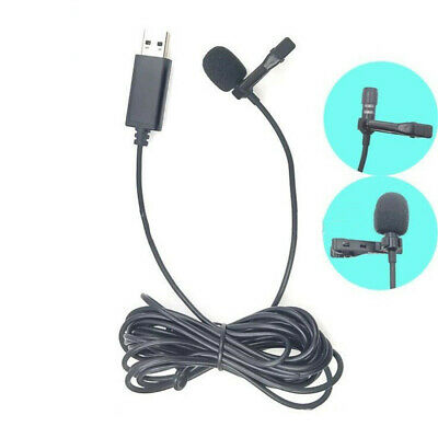 USB 2.5mm Wired Mini Clip-On Microphone Lavalier Lapel Mic Phone PC Recording