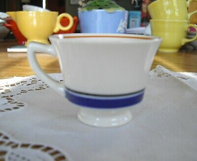 Vintage Syracuse China O.P.CO Old Ivory Demitasse Cup White with Blue Stripe ~