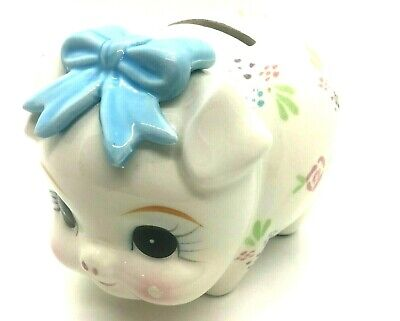 "Lefton Hand Painted Piggy Bank With Flowers - Adorable Approx 6"" L X 4"" H"