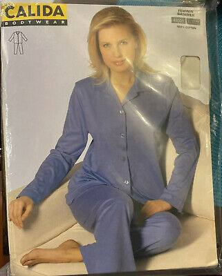 Ivory Calida Pajamas New In Package Xl Made In Hungary Satin Trim 100% Cotton
