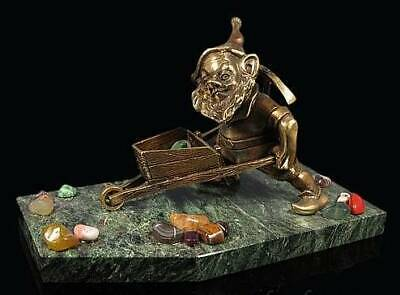 Handmade Dwarf with a bronze gem trolley on a coil stand