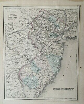An original 1855 antique map of New Jersey by J.H.Colton