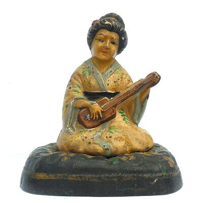 Antique C19th Victorian Novelty Cold Painted Cast Iron Door Stop Geisha Girl OLD