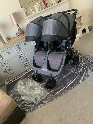 Baby Jogger City Mini GT Double Buggy Grey & Black Beautiful Pram Twin Raincover