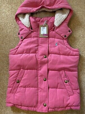 Bnwt Girls Joules Mid Pink Gilet Age 8 Yrs,Rrp £46.95.