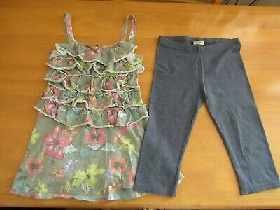 Next Girls Tropical Floral Print Ruffled Tunic & Cropped Leggings Outfit - Age 9