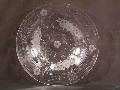 1930's Signed Webb Corbett England Cut Etched Engraved Crystal Glass Fruit Plate