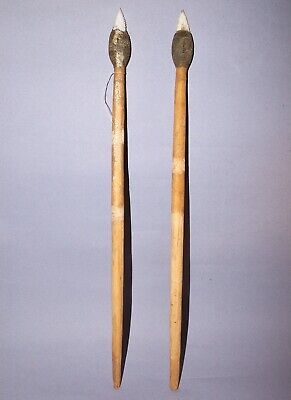Two Kimberley Point Spears. White Chalcedony And Glass. Aboriginal.