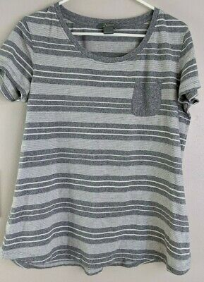 Natural Reflections Womens Gray Striped Cotton Pocket Tee size L